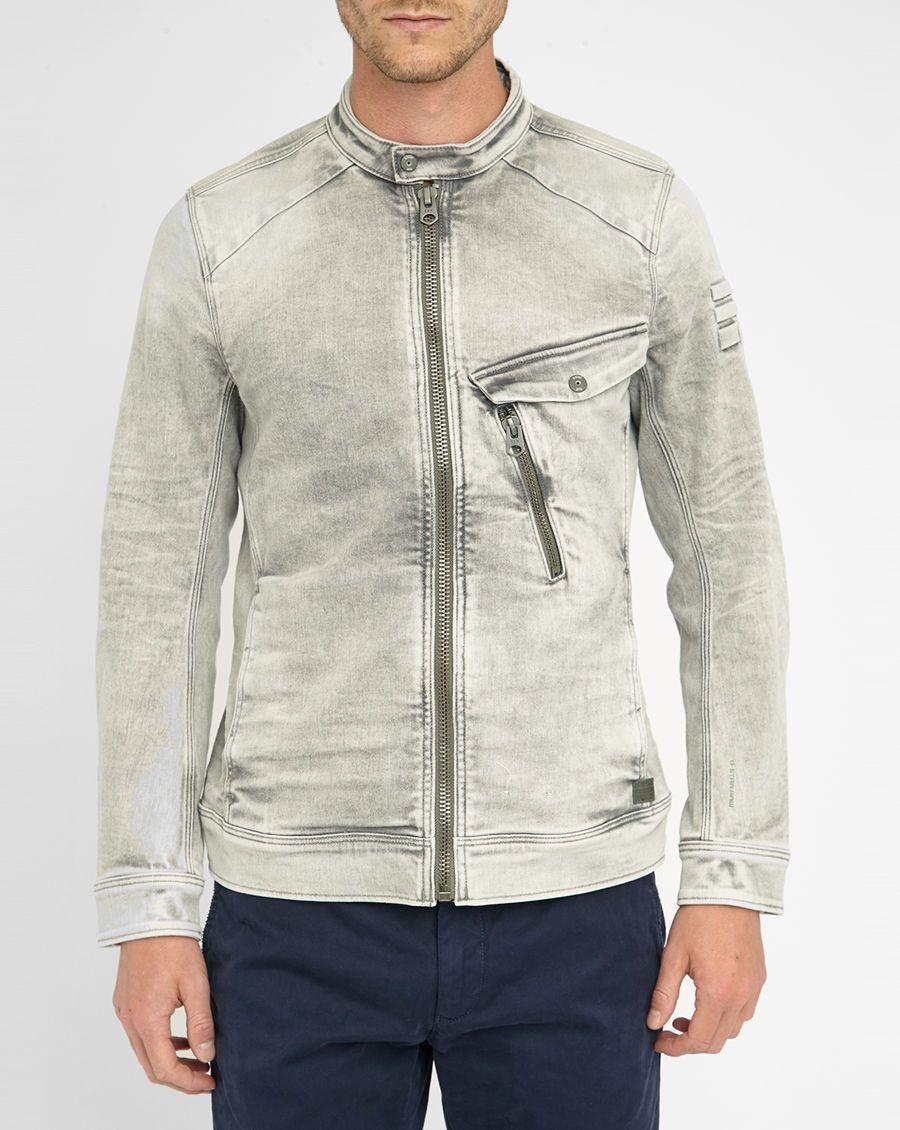 veste en denim grise lav zipp revend 3d slim g star homme prix promo veste en jean menlook 189. Black Bedroom Furniture Sets. Home Design Ideas