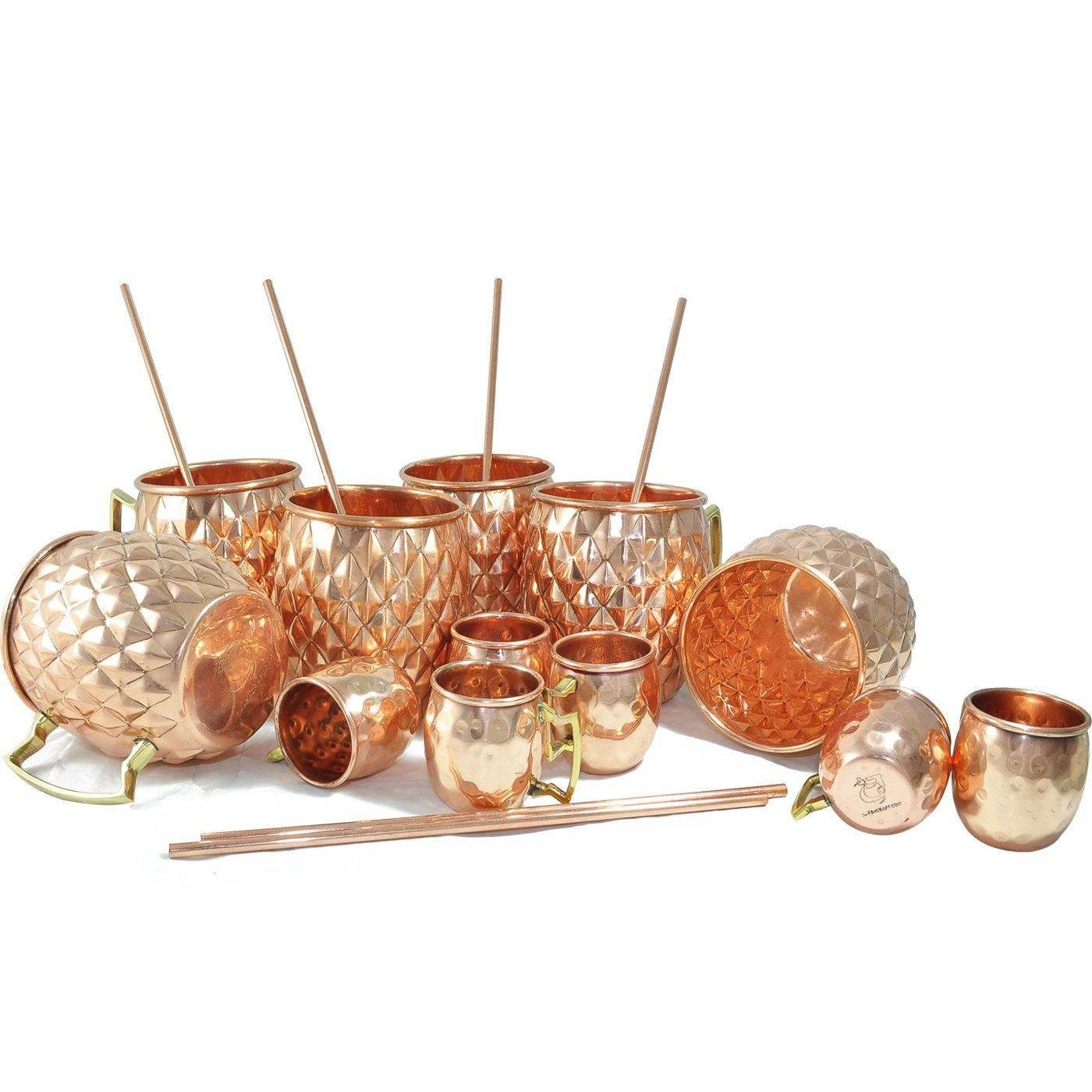 Amazon.com | DakshCraft ® Cocktail Diamond Cut Copper Mug (Capacity 16.90 oz) with FREE Copper Shot Mug (Capacity - 2 oz pr glass) & Copper Straw, Set of 6: Glassware & Drinkware