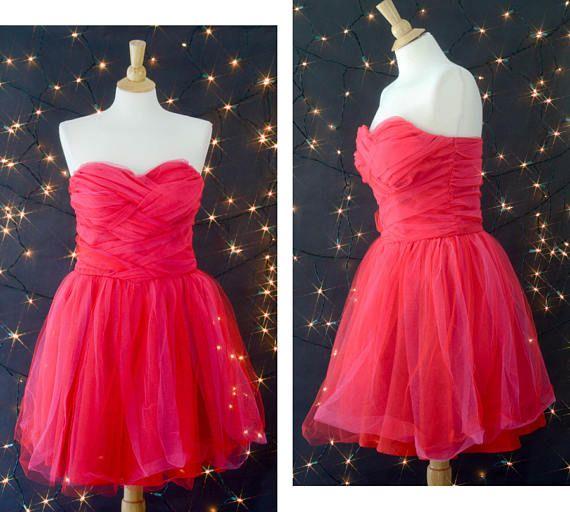 Vintage 80s Prom Dress Hot Pink Tulle Dress 80s Strapless | Shop KLV ...