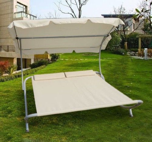 Garden Large Love Sunbed Lounger Hammock Chaise Relaxing Sunshade Day Bed Wheels Outsunny Garden Recliner Chairs Patio Patio Chairs