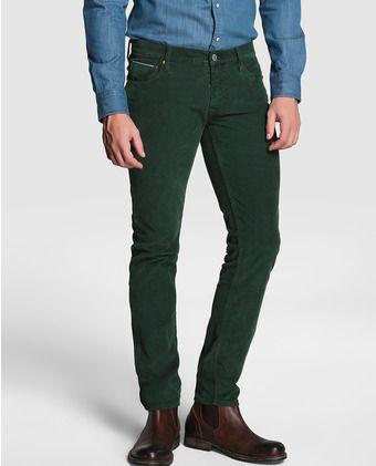 7da88adea7 Pantalón de hombre Care Label pana verde Pantalón Verde Hombre