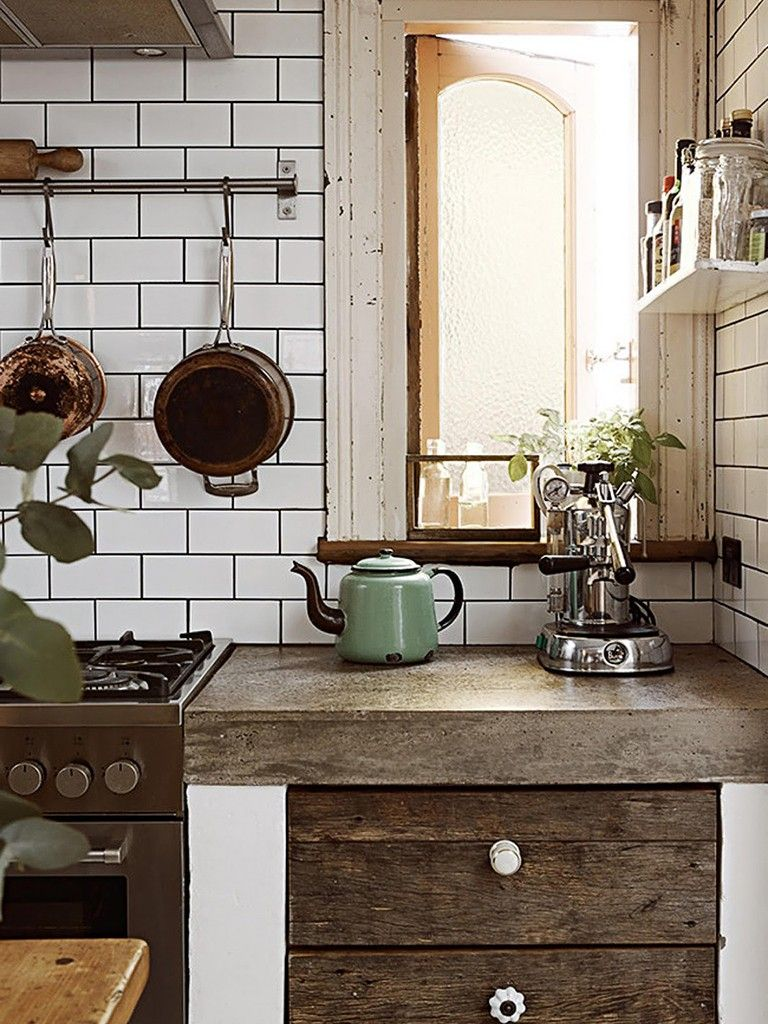 rustic white country kitchens. Eclectic Kitchen With Subway Tiles, Concrete Counter, Stainless Steel Appliances And Drawer Fronts Made From Salvaged Wood Rustic White Country Kitchens Y
