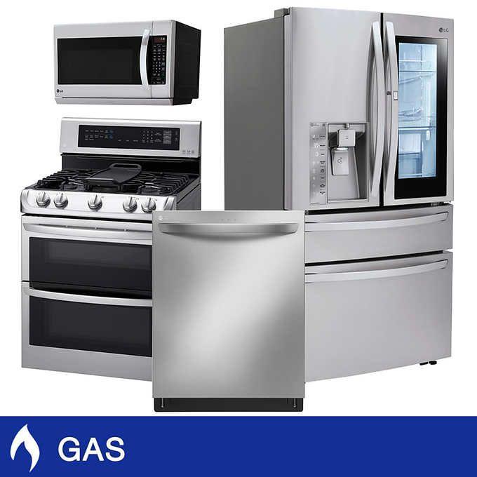 Lg 4 Piece Gas 30 Cuft 4 Door French Door Kitchen Suite In
