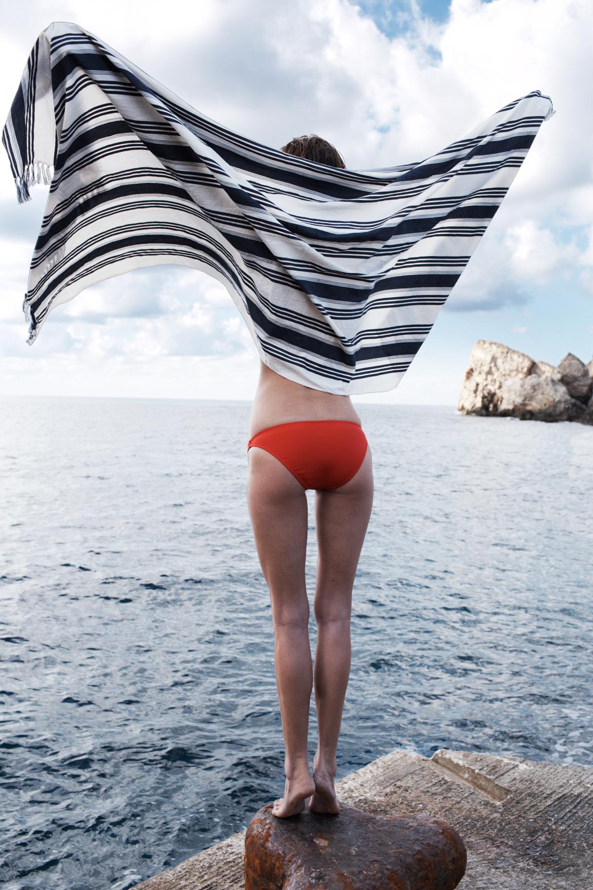 Madewell Awning stripe scarf worn with French-seam bikini top + hipster bikini bottom.