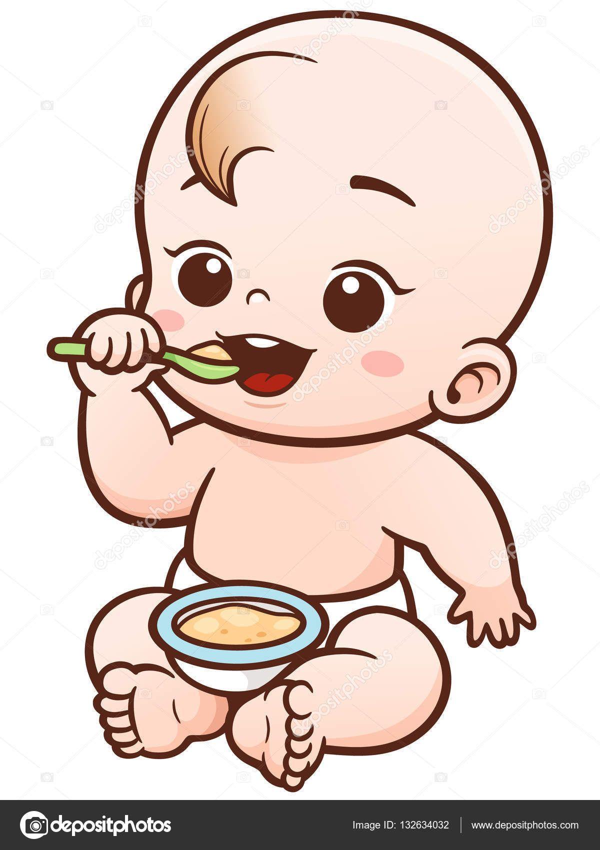336e5a32c Vector ilustración de dibujos animados lindo bebé comiendo