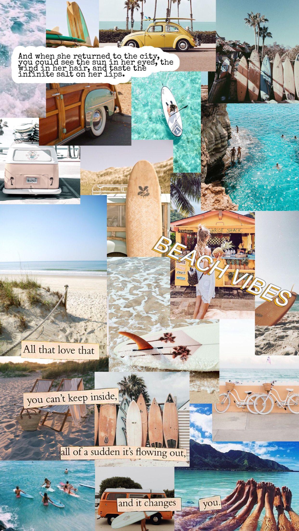 ♡ beachy collage wallpaper ♡