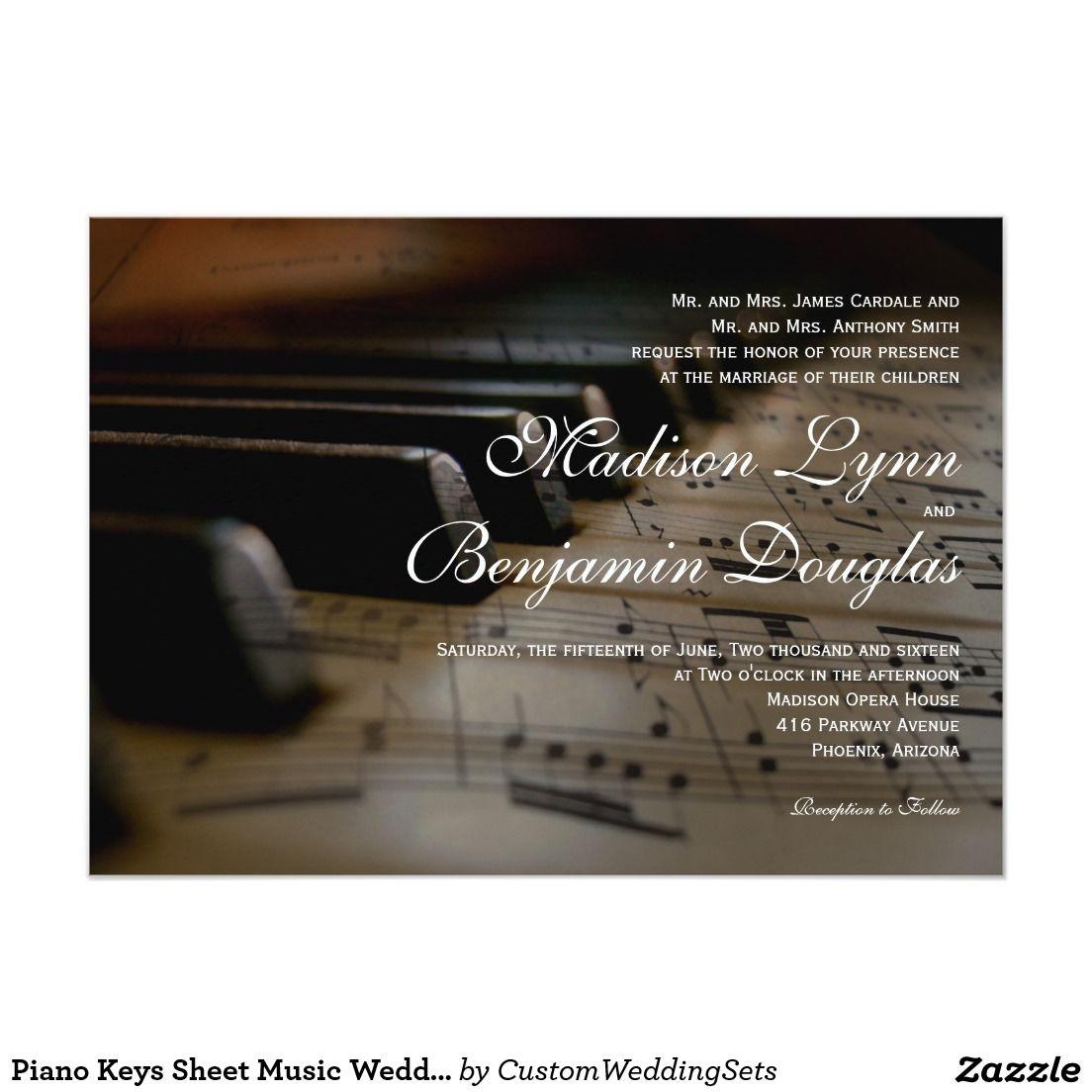 Piano Keys Sheet Music Wedding Invitations  Zazzle.com  Sheet