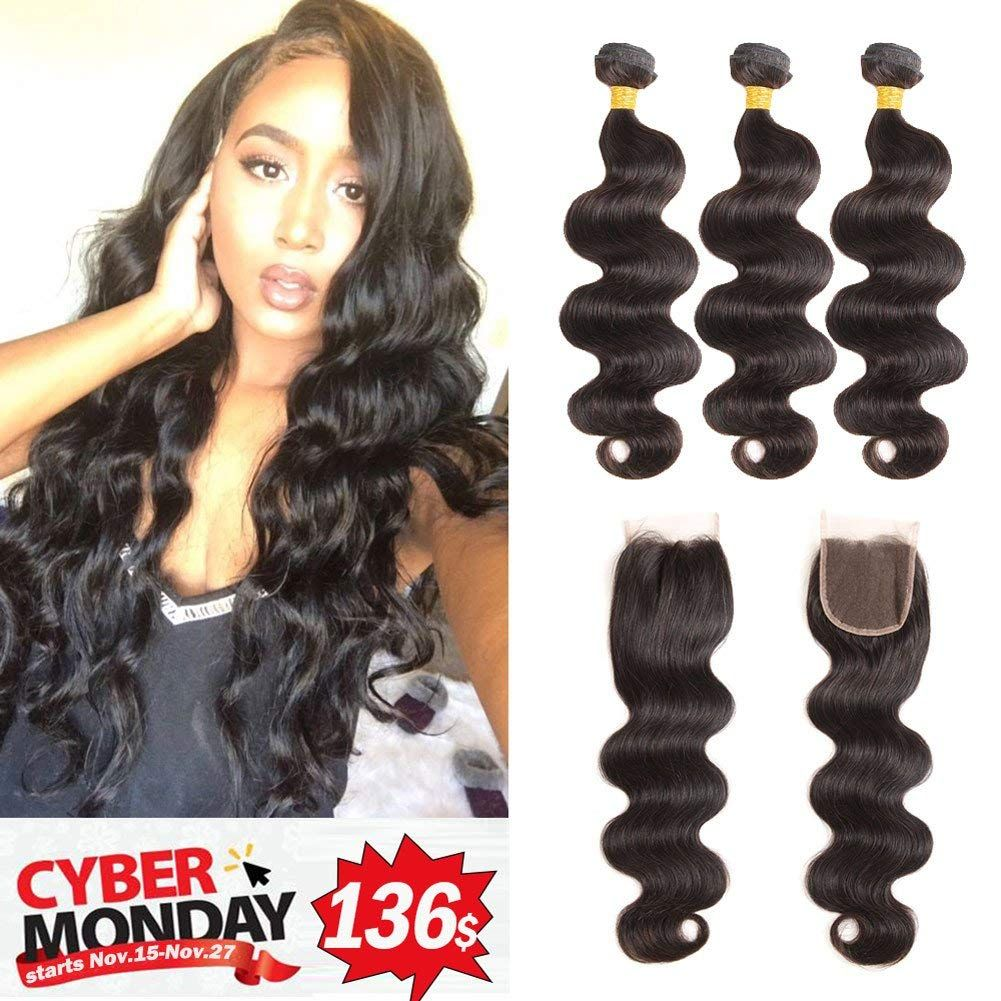 Hair Extensions & Wigs 3/4 Bundles With Closure Malaysian Deep Wave Human Hair 3 Bundles With 4x4 Lace Closure Non Remy Hair Bundles With Closure Natural Color 8-26 Inch More Discounts Surprises