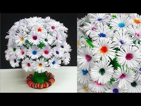 DIY-Paper flowers Guldasta made with Empty Plastic bottles|Paper ka Guldasta Banane ka Tarika - YouTube