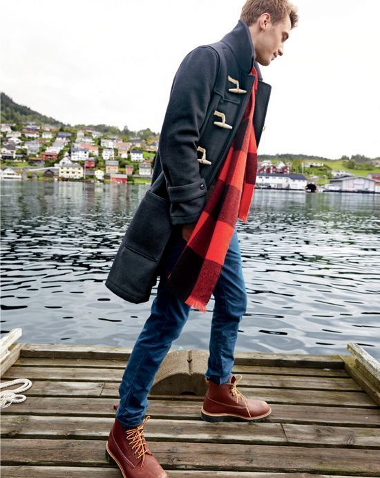 Men's Black Duffle Coat, Blue Skinny Jeans, Burgundy Leather Work Boots,  Red Plaid Scarf