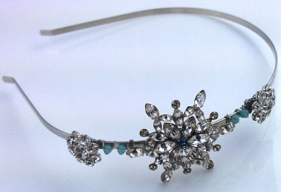 Vintage headband 1950s snowflake & flowers with Swarovski crystals by SwankyDame, $65.00
