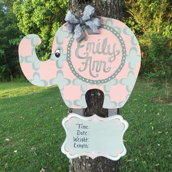 Personalized Pink Elephant Door Hanger
