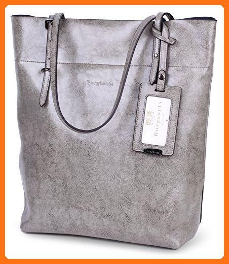 Borgasets Womens Leather Tote Bag Shoulder Bags Handbags Purse for Ladies (Grey) - Satchels (*Amazon Partner-Link)