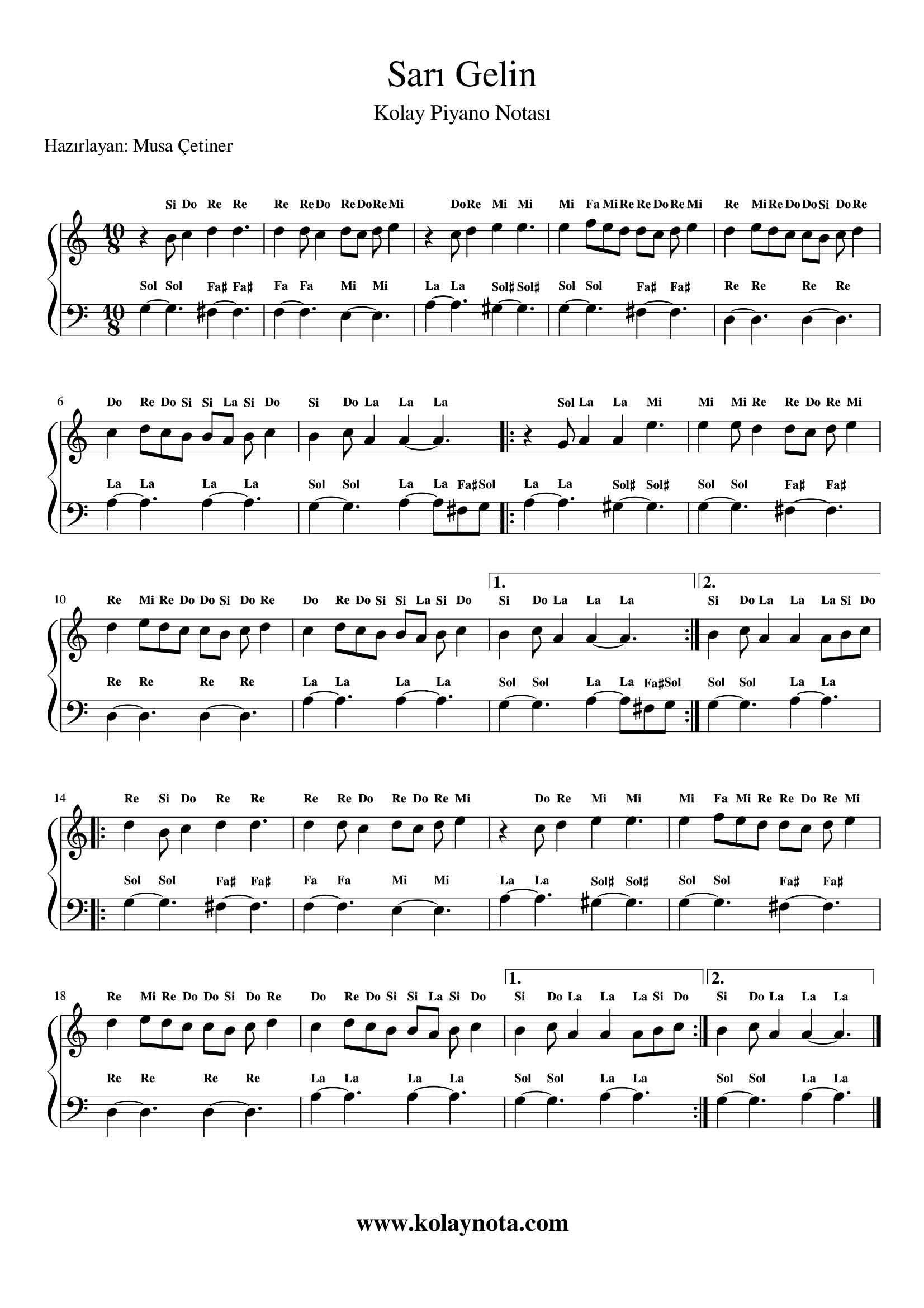 Sari Gelin Kolay Piyano Notasi Kolaynota Com Nota Arsivi Sarisin Gelin Pi Yano Muzik Notalari