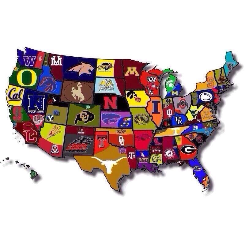 Map Of Collage Football Awsome Things Pinterest Collage - Us college education map