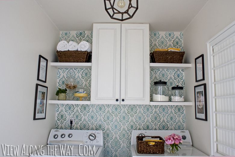 Updated laundry room with stenciled walls diy light and cabinetry updated laundry room with stenciled walls diy light and cabinetry solutioingenieria Image collections