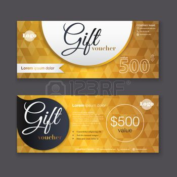 Invitation gift voucher template with gold pattern gift invitation gift voucher template with gold pattern gift certificate background design gift coupon voucher certificate invitation currency stopboris Images