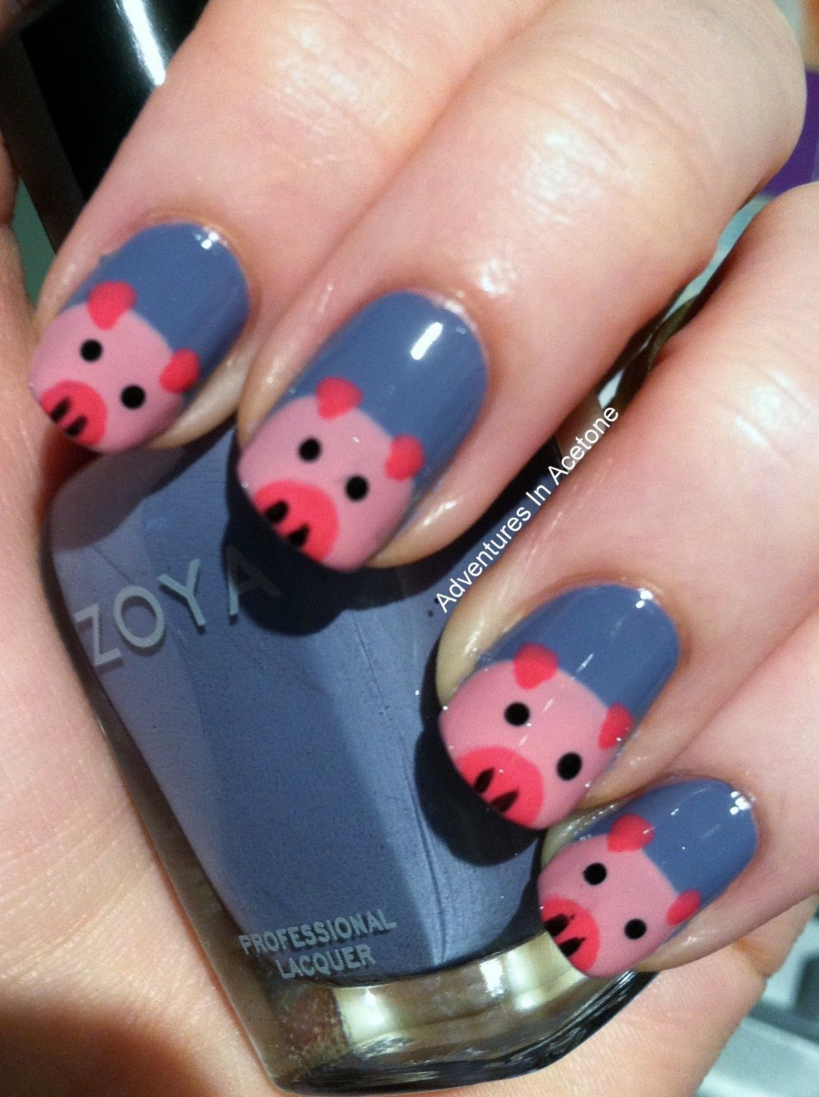 Adventures In Acetone: Piggy Nails Tutorial! 6 Steps http://www.adventuresinacetone.com/2011/11/piggy-nails-tutorial.html