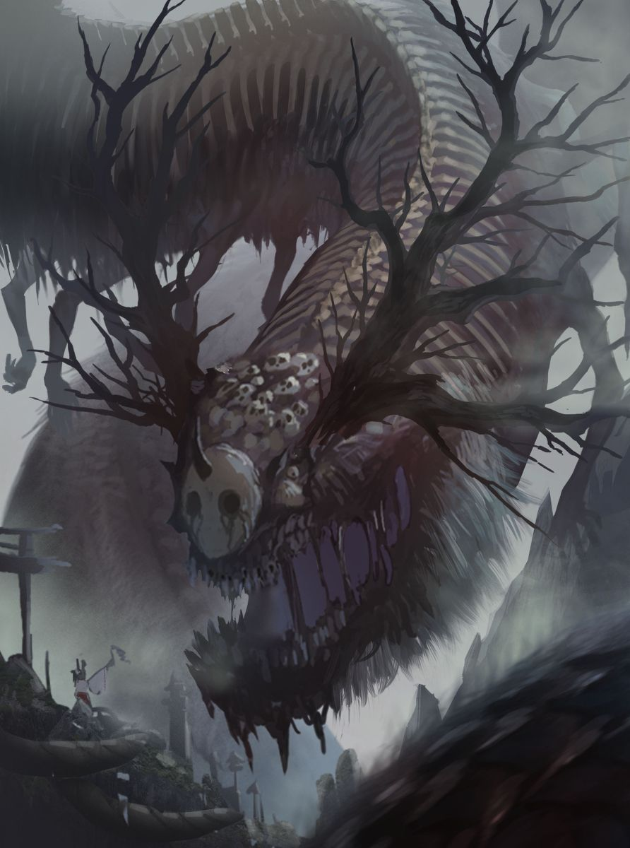 creature, dragon, monster / 禍津日神(仮塗り) - pixiv | イラスト ...
