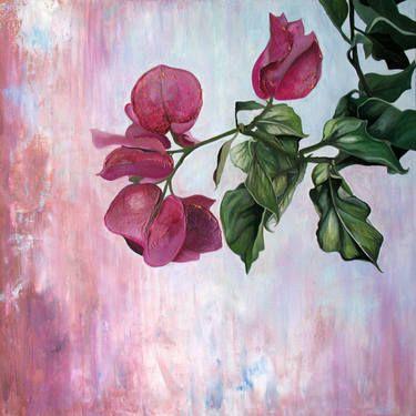 "Saatchi Art Artist: Nicole Geerlings-Cijs; Acrylic 2013 Painting ""Bougainvillea"" #art #abstract #abstractpainting #golden #acrylics #saatchiart #floral #pink #blue #textured"