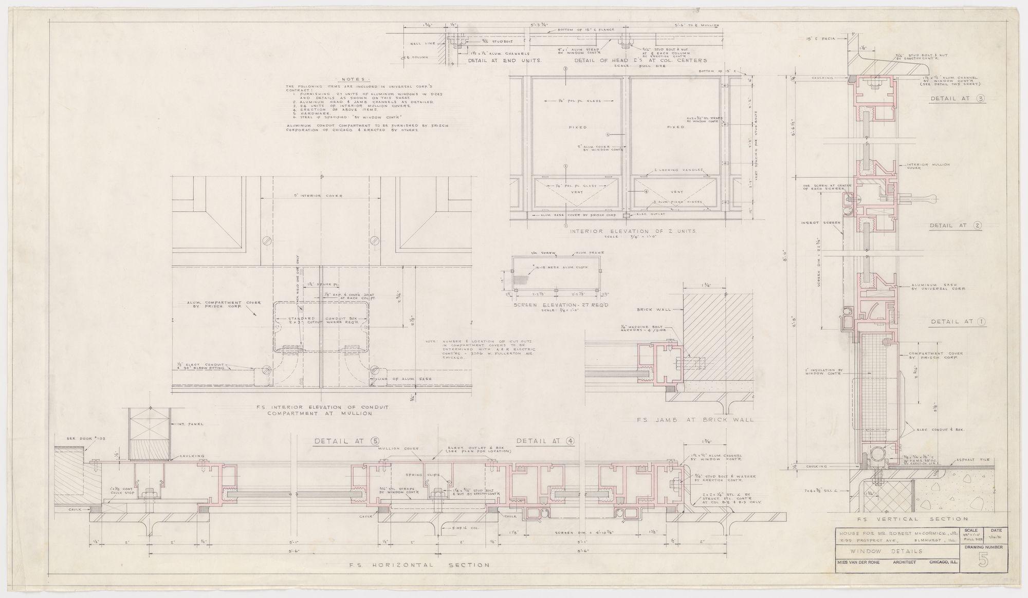 Ludwig Mies Van Der Rohe Robert H Mccormick House Elmhurst Il Prospetti E Sezioni Dettagli Di Una Finestra 1951 House Prospettiva Tecnologia