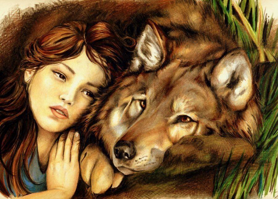 Beautiful Woman, Pretty Girl, Wolf, Dog, Friends   Woman ...