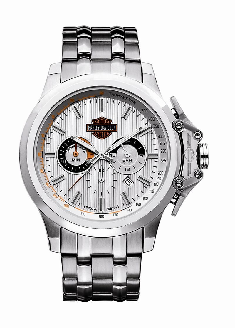 Mens Harley Davidson Stainless Stell Chronograph Watch by Bulova 76B151 794002ac8e3