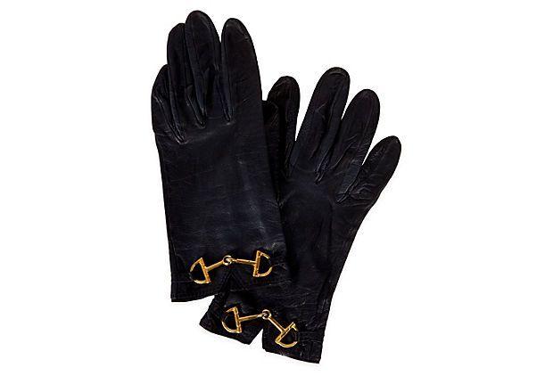 Hermès Black Leather Horse Bit Gloves