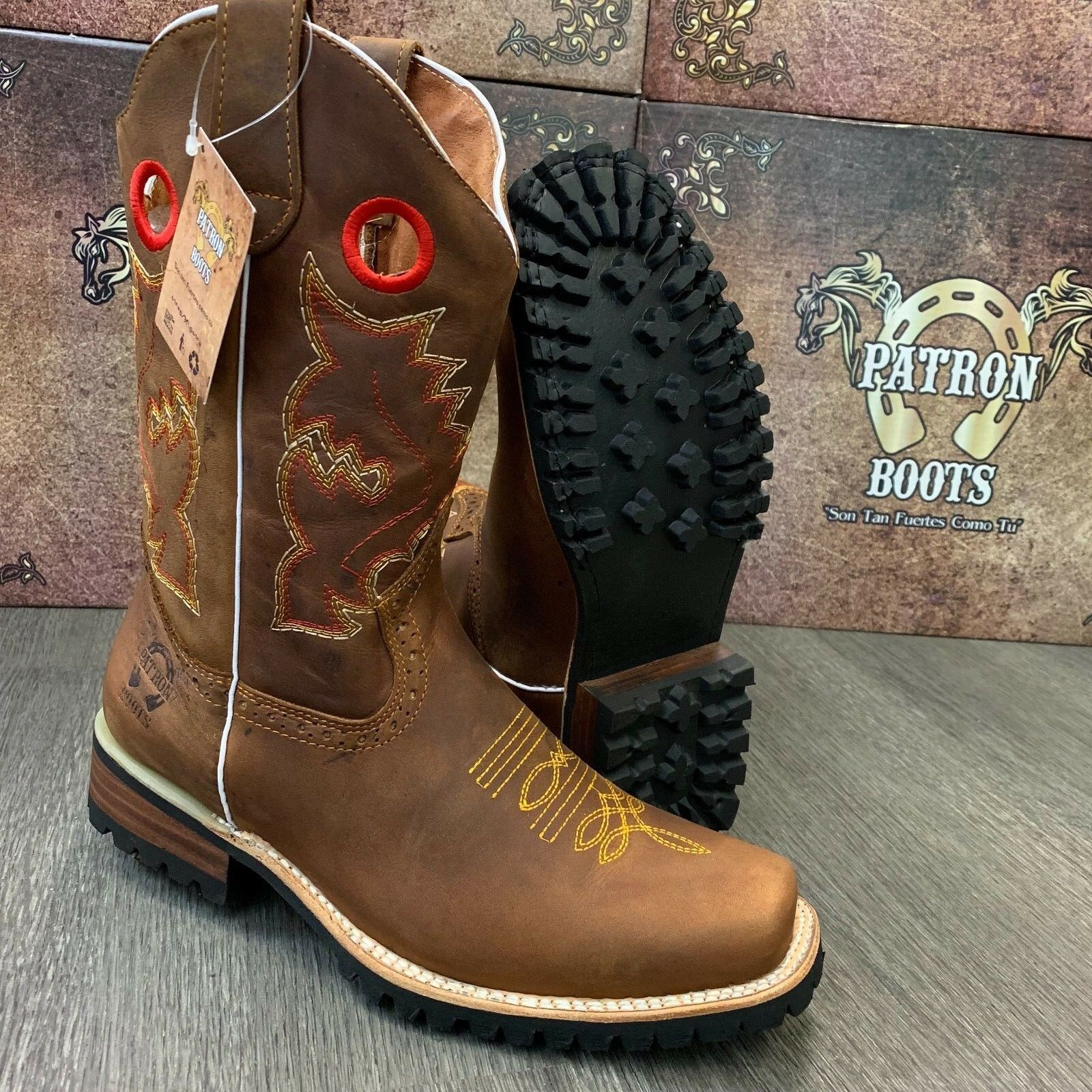 MENS BROWN BOOTS WESTERN COWBOY SQUARE