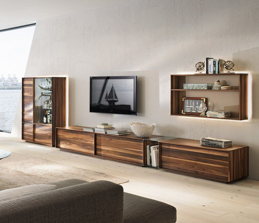 Wall Unit Modern charming dark brown white wood glass cool design modern wall unit