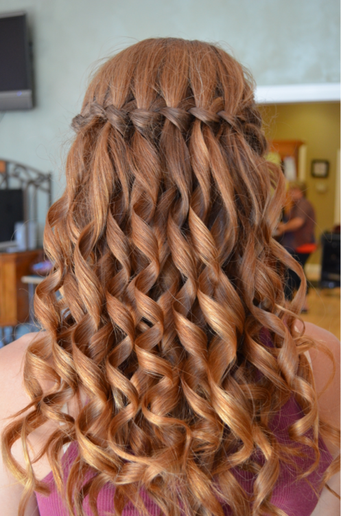 Waterfall braid with curled hair wedding hair for bridesmaids waterfall braid with curled hair ccuart Image collections