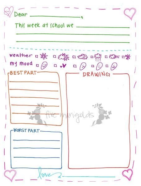 printable letter writing template
