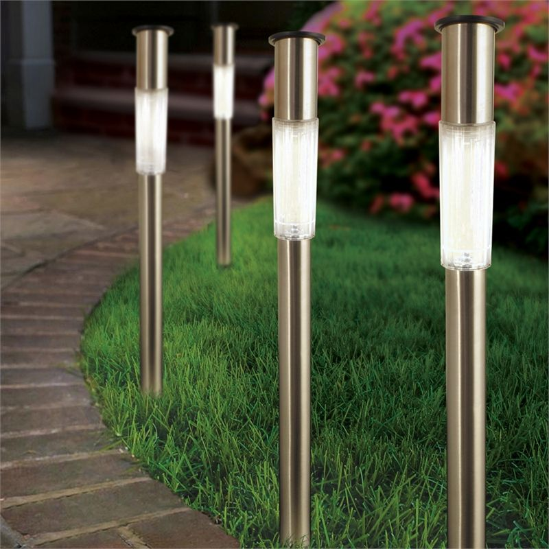 Ordinary Solar Bollard Lighting Part - 4: Lytworx White LED Stainless Steel Solar Bollard Light