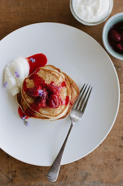 Buckwheat pancakes with warm vanilla berries