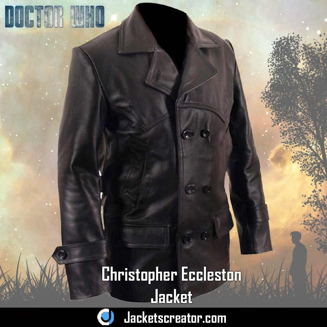 Ninth Doctor Who Christopher Eccleston Double Breasted Black Leather Jacket Coat