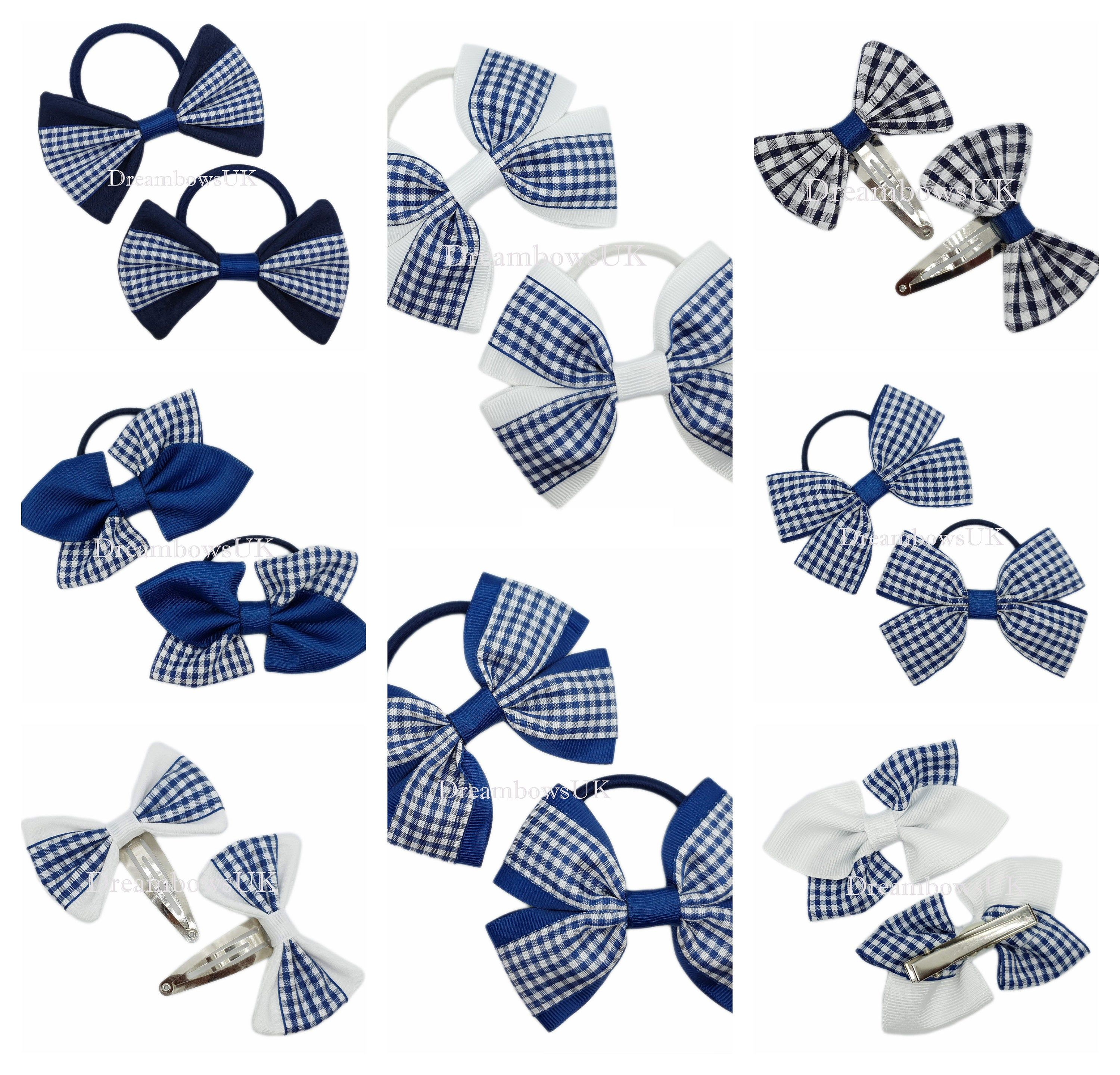 Thick or thin bobbles Black and blue tartan fabric hair accessories Tartan bows Alligator or snap clips