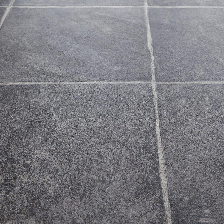 Rhino Classic Basaltina Carbon Stone Tile Effect Vinyl Flooring