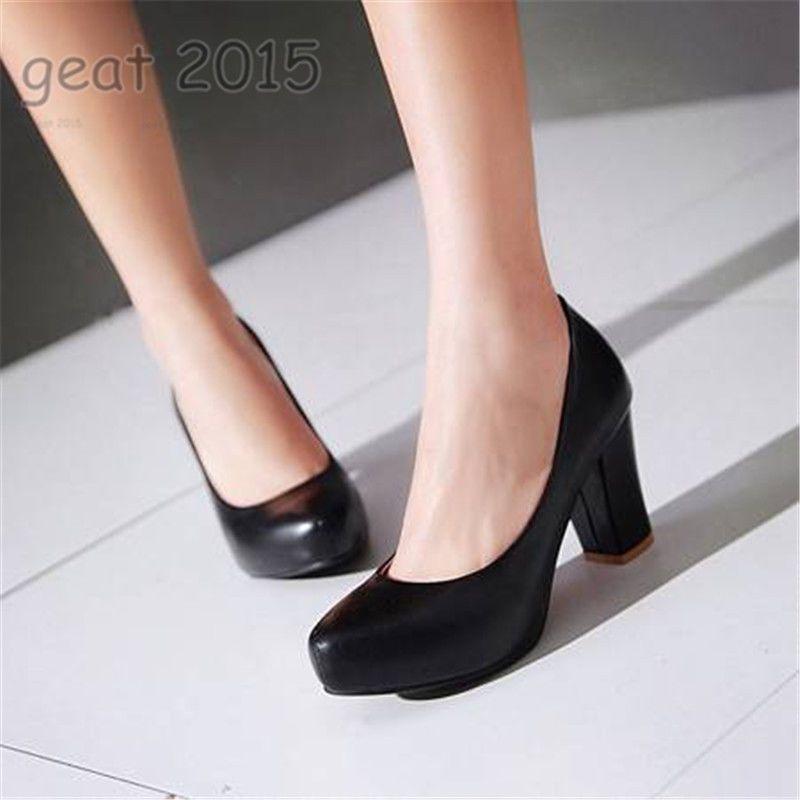 Plus Sz Women Block Heel Wedge Formal