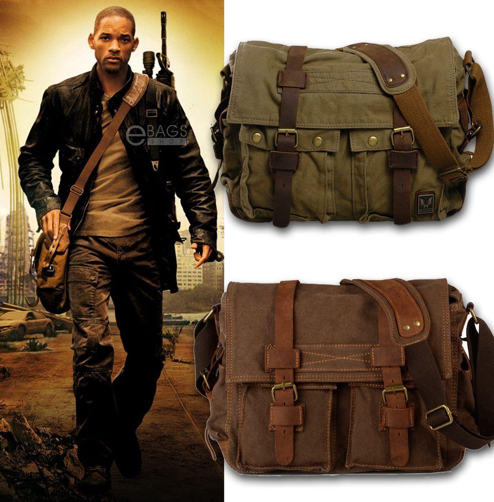 Details about Men's Military Canvas Leather Satchel School 14 ...
