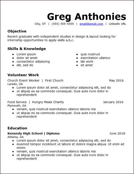 High School Student Resume With No Work Experience Template Di 2020
