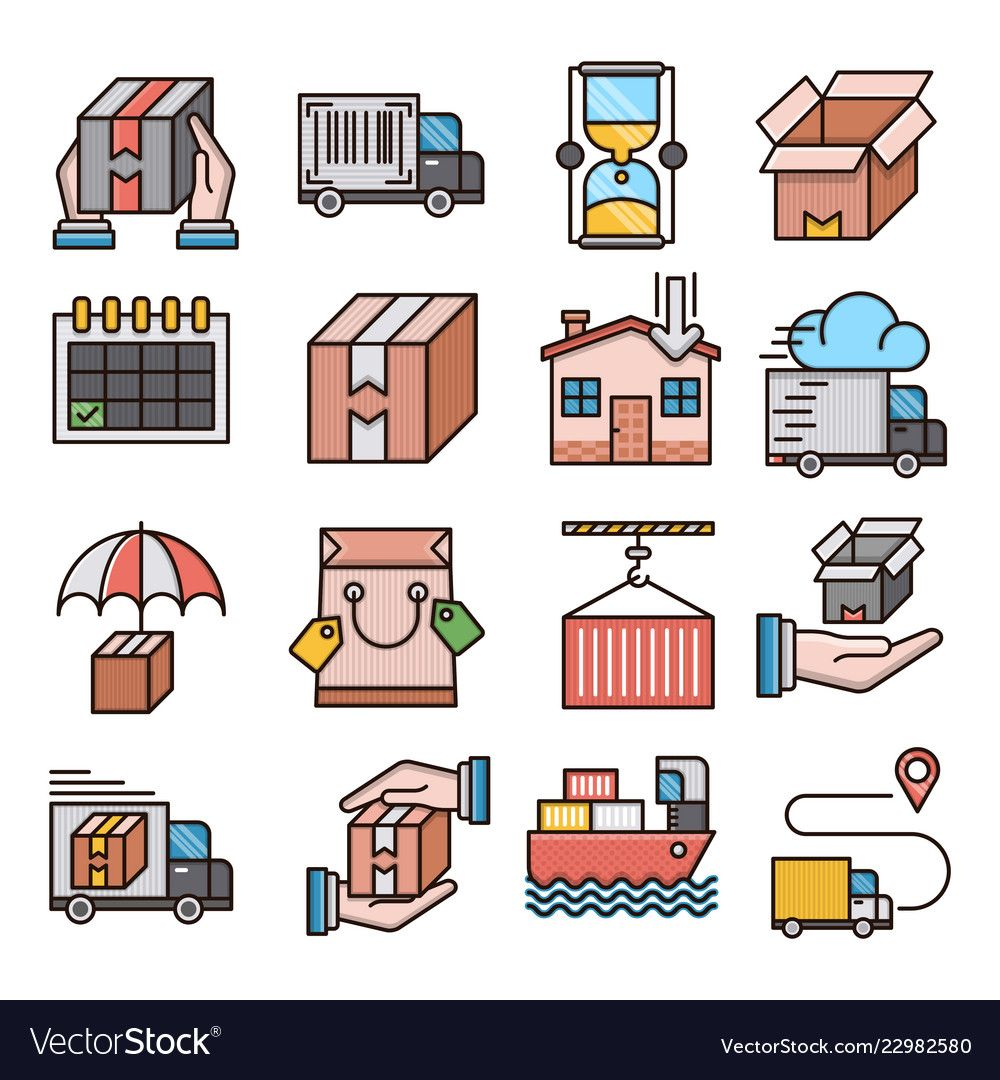 Delivery filled outline icons vector image on Vector free