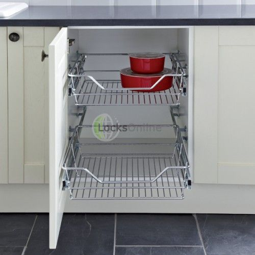 Pull Out Linear Wire Basket Storage Set For 300mm 900mm Wide