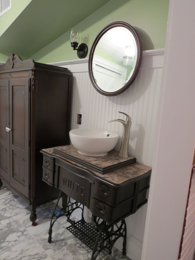 Old Sewing TreadleCabinet Upcycled as Bathroom Vanity  DekoWohnen
