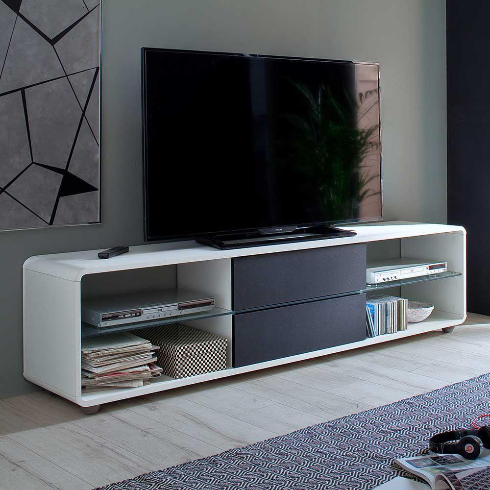 TV Lowboard in Weiß Anthrazit 180 cm breit Jetzt bestellen unter ...