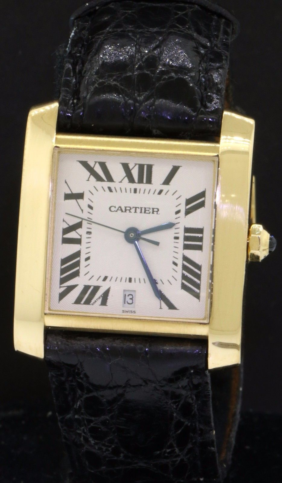 Cartier Tank Francaise 1840 18k Gold Auto Men S Watch W Date Deployment Band Pretty Watches Cartier Tank Francaise Watches For Men
