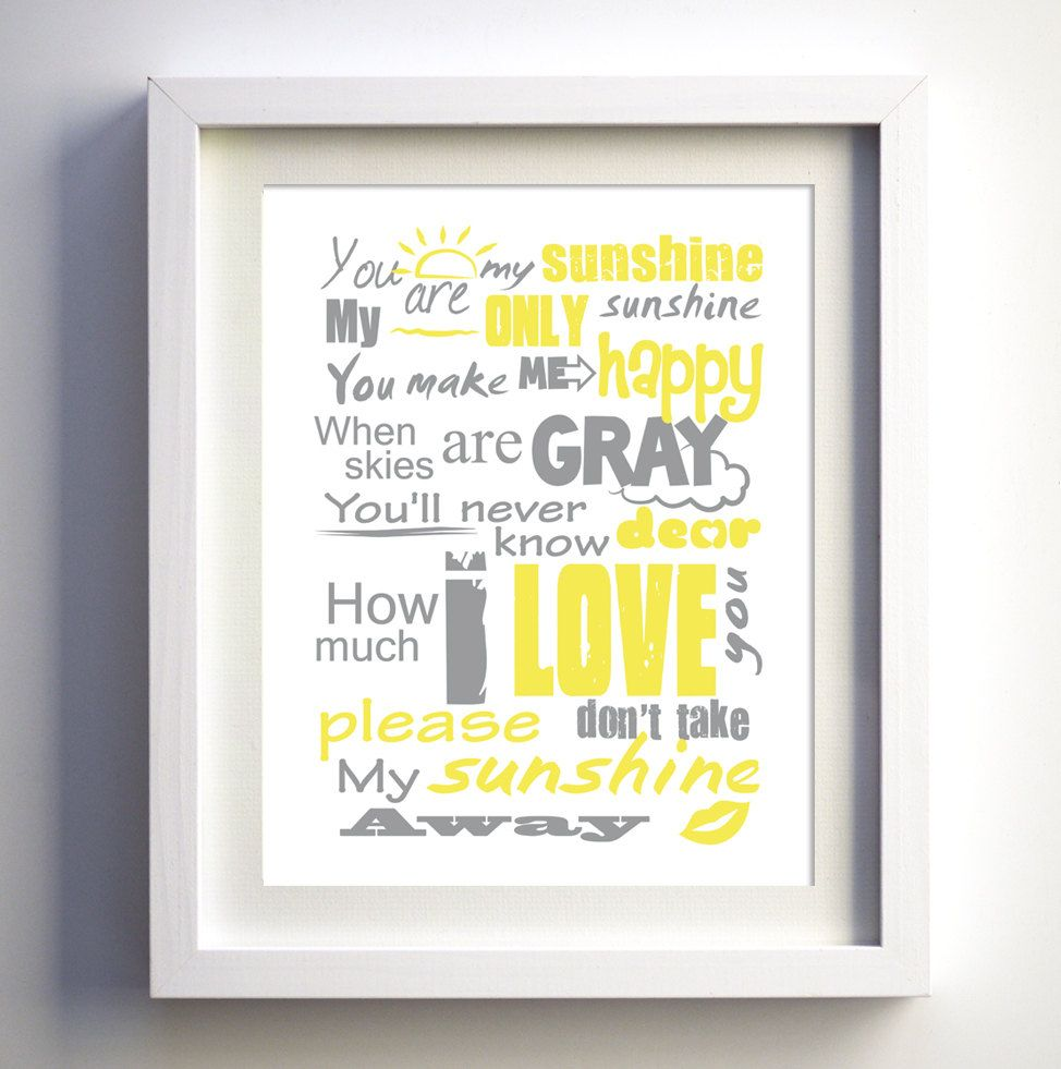 You Are My Sunshine Poster, original lyrics song, Baby Birthday Gift ...