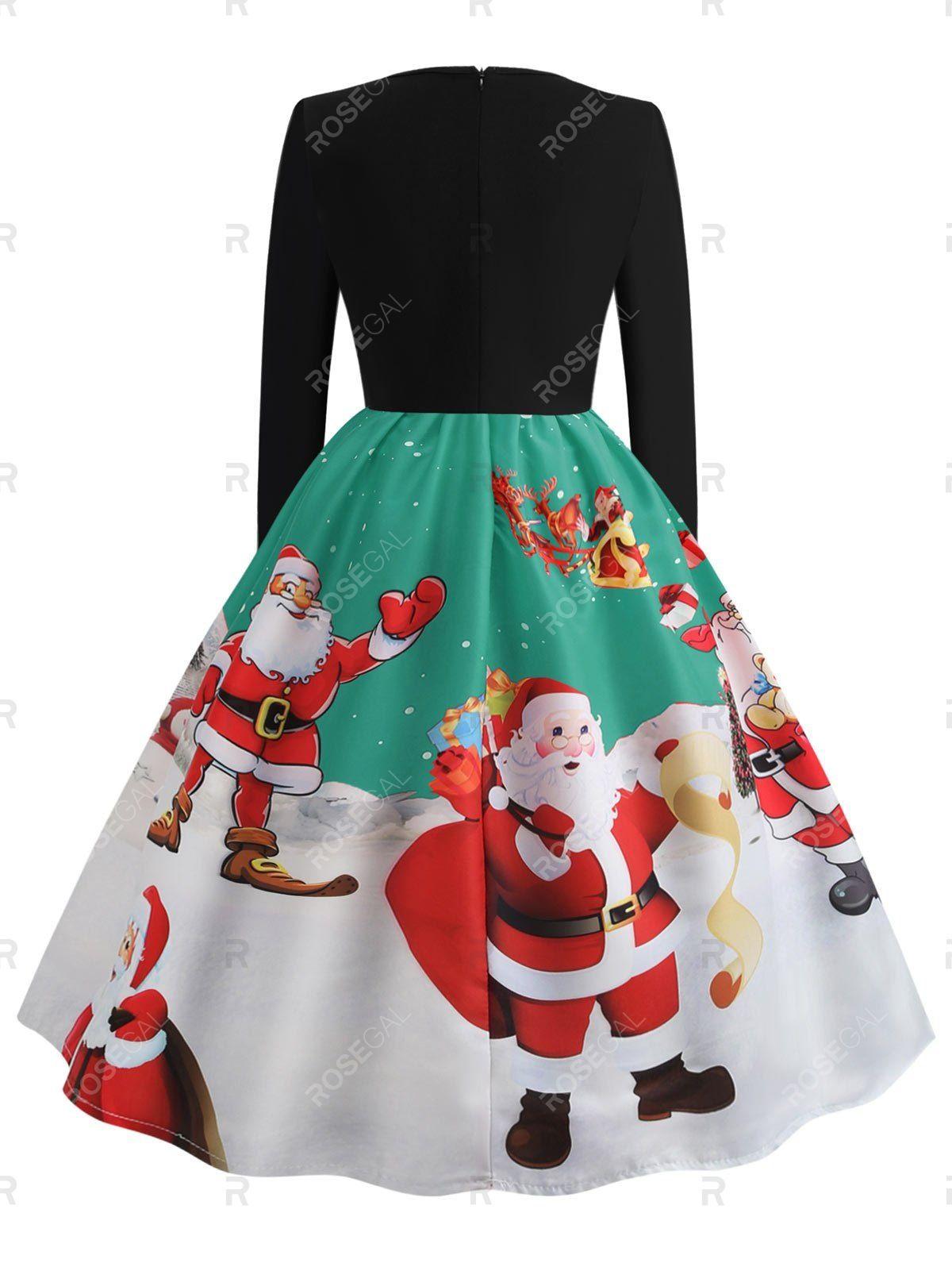 Santa Claus Print Long Sleeve Christmas Dress Long Sleeve Print Dress Spring Sweater Outfits Printed Summer Dresses [ 1596 x 1200 Pixel ]