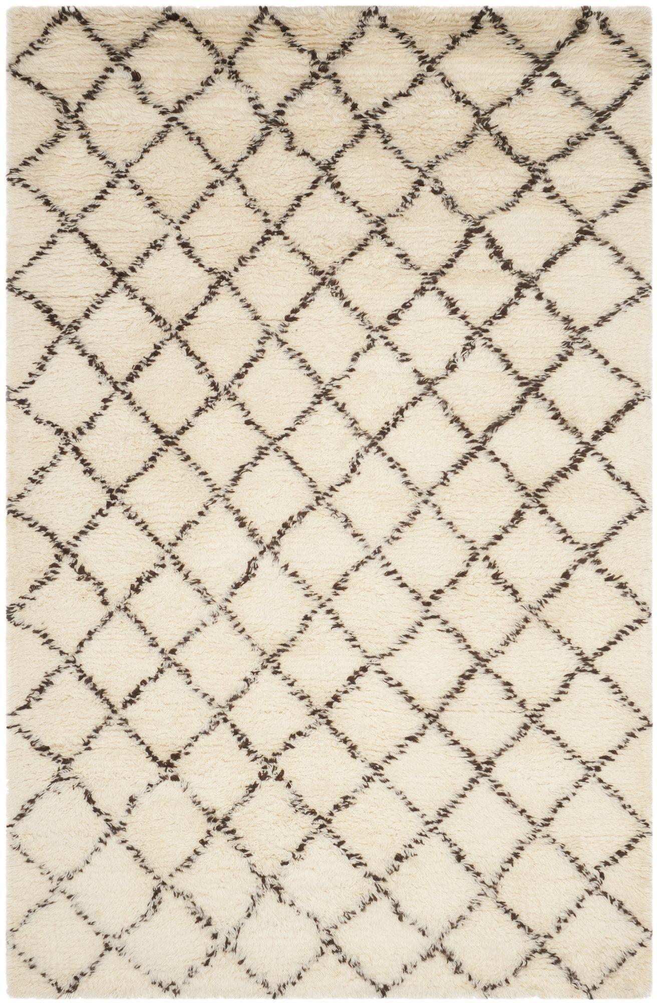 Lohan Hand-Woven Ivory/Dark Brown Area Rug