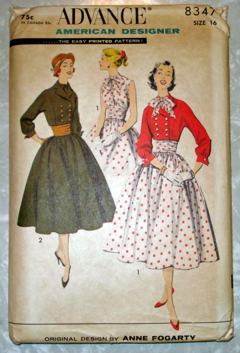 Vintage s advance junior misses dress jacket sewing pattern