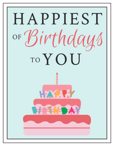 Share Some Birthday Wishes With This Printable Birthday Card Template Design Features A Pink Ca Birthday Labels Birthday Card Printable Birthday Card Template